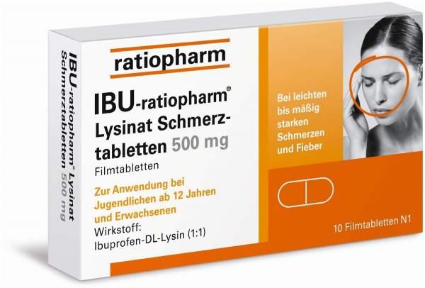 IBU-ratiopharm Lysinat Schmerztabletten 500 mg 10 Filmtabletten