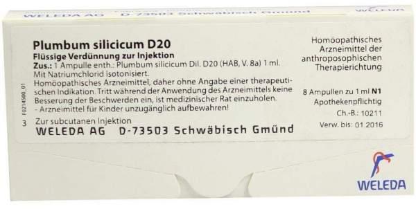 Plumbum Silicicum D 20 Ampullen 8 X 1 ml