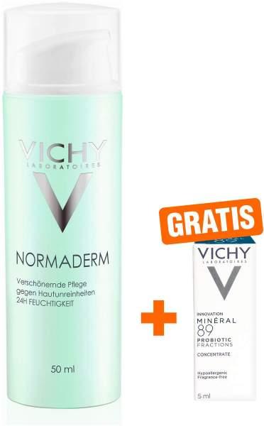 Vichy Normaderm verschönernde Feuchtigkeitspflege 50 ml + gratis Mineral 89 Probiotic Fractions 5 ml Tube