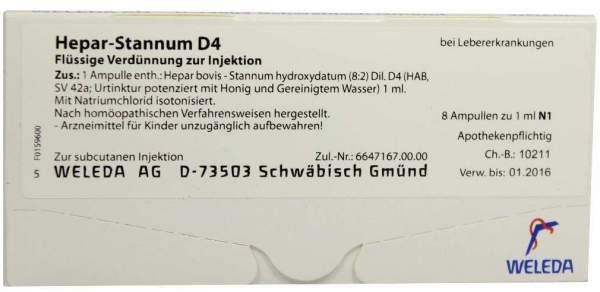 Hepar-Stannum D 4 Weleda 8 Ampullen