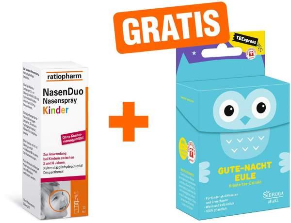 Nasenduo Nasenspray Kinder 10 ml + gratis TEExpress Gute Nacht Eule 15 Filterbeutel