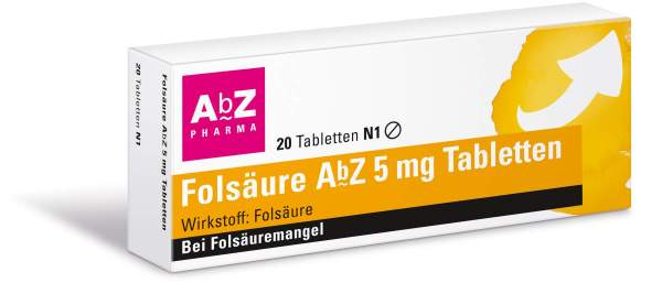 Folsäure Abz 5 mg 20 Tabletten