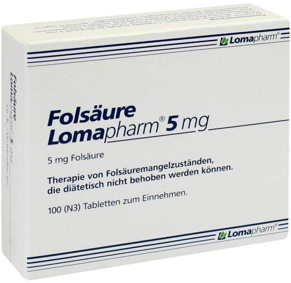 Folsäure Lomapharm 5 mg 100 Tabletten