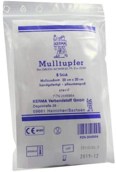 Mulltupfer 20 X 20 cm Pflaumengroß Steril 5 Tupfer