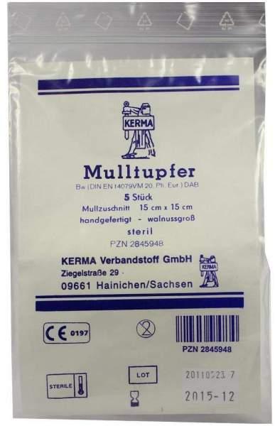 Mulltupfer 15x15cm Walnussgroß Steril 5 Tupfer