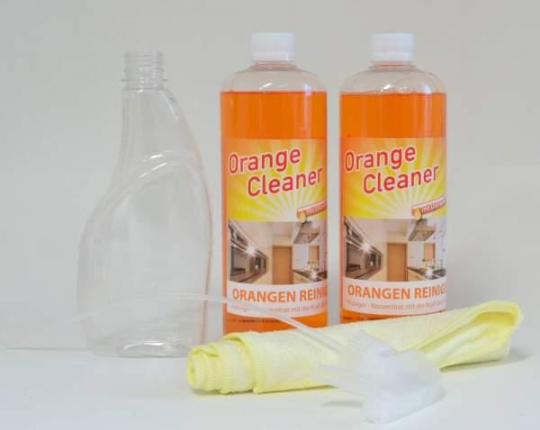 Orangenreiniger, 2 x 750 ml, inkl. Sprühflasche und Mikrofasertuch