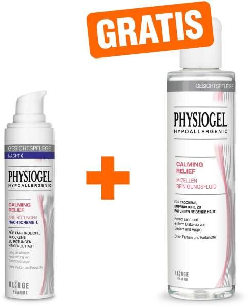 Physiogel Calming Relief Anti Rötungen 40 ml Nachtcreme + gratis Calming Relief Mizellen Reinigungsfluid 200 ml