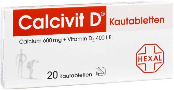 Calcivit D Kautabletten 600 Mg-400 I.E 20 Kautabletten