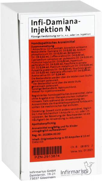 Infi Damiana Injektion N 50 X 1 ml Ampullen