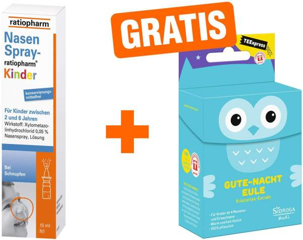 Nasenspray Ratiopharm Kinder 10 ml + gratis TEExpress Gute Nacht Eule 15 Filterbeutel