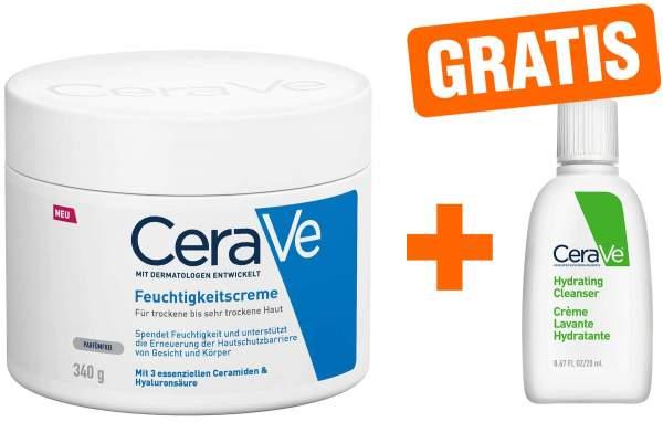 CeraVe Feuchtigkeitscreme 340 g + gratis feuchtigkeitsspendende Reinigungslotion 20 ml