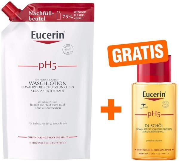 Eucerin pH5 Waschlotion 750 ml Nachfüllbeutel empfindliche Haut + gratis pH5 Duschöl 100 ml