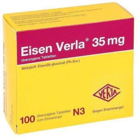 Eisen Verla 35 mg 100 überzogene Tabletten