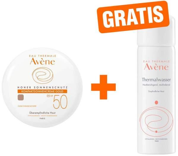 Avene Kompaktsonnencreme SPF 50 Gold 10 g Creme + gratis Thermalwasser Spray 50 ml