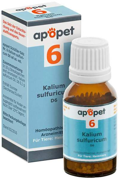 Apopet Schüßler Salz Nr.6 Kalium Sulfuricum D6 vet. 12 G Globuli