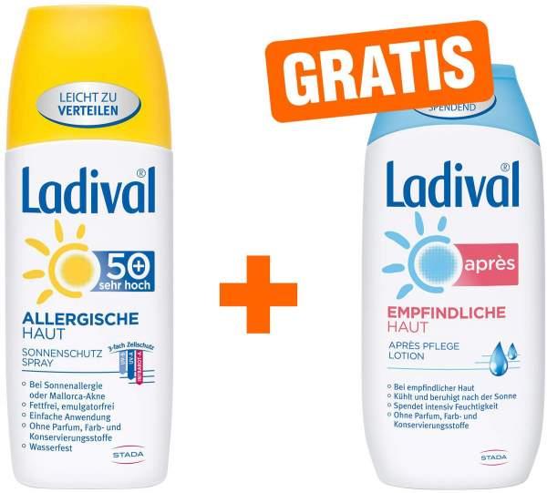 Ladival Allergische Haut 150 ml Spray LSF 50+ + gratis Empfindliche Haut 200 ml Après Lotion