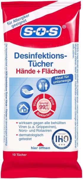 SOS Desinfektions-Tücher 10 Stück