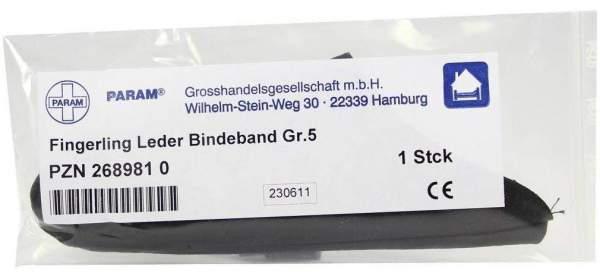 Fingerling Leder Gr. 5 mit Bindeband 1 Stück