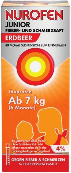 Nurofen Junior Fieber- & Schmerzsaft Erdbeere 40 mg pro ml 150 ml Suspension