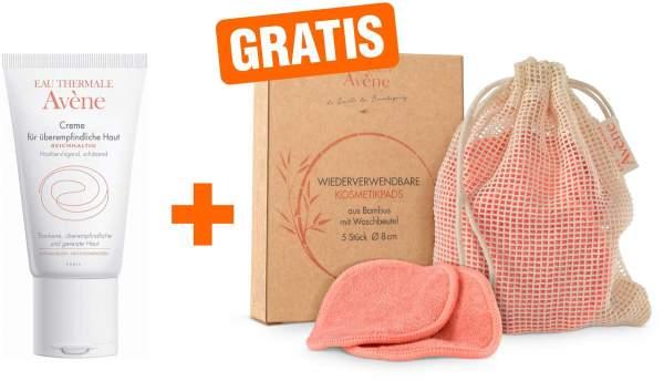 Avene Creme für überempfindliche Haut reichhaltig 50 ml + gratis Kosmetikpads (wiederverwendbar) 5 Stück