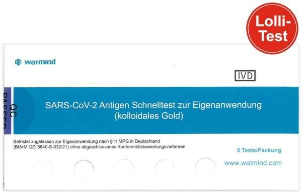 Watmind SARS-CoV-2 Antigen Schnelltest (Speicheltest) 5 Stück