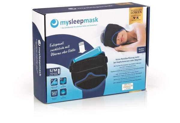 mysleepmask Schlafmaske L-XL schwarz-blau inkl. 2 Gelpads & 2 Paar Ohrstöpsel