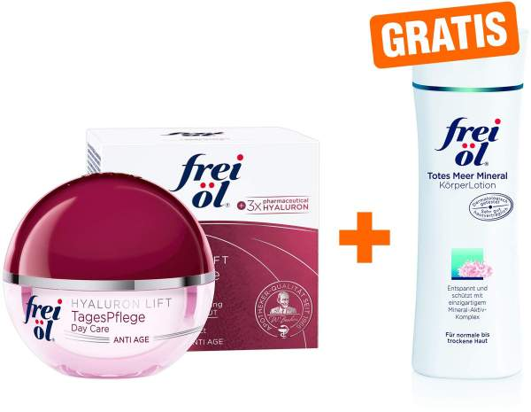 Frei Öl Anti - Age Hyaluron Lift TagesPflege 50 ml Tagescreme + gratis Totes Meer Mineral Körper Lotion 200 ml