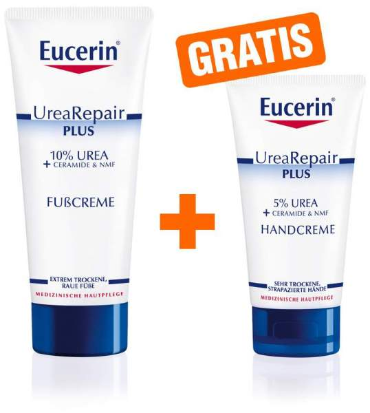 Eucerin UreaRepair Plus Fußcreme 10% 100 ml + gratis UreaRepair Plus Handcreme 30 ml