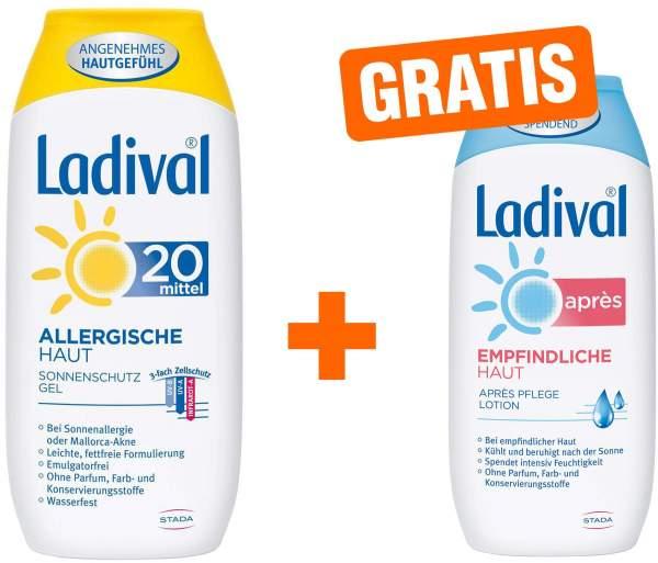 Ladival Sonnenschutz Gel Allergische Haut LSF 20 200 ml Gel + gratis Empfindliche Haut 200 ml Après Lotion