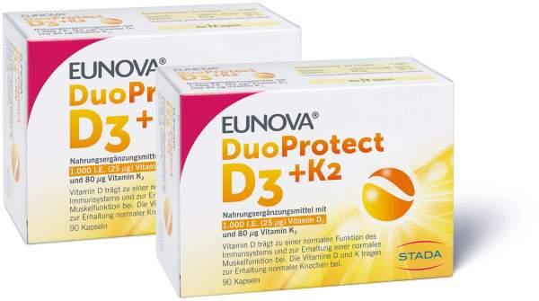 Eunova DuoProtect D3 + K2 1000 I.E. 2 x 90 Kapseln