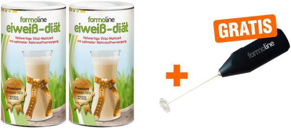 Sparset Formoline Eiweiß Diät 2 x 480 g Pulver + gratis Mix Stab