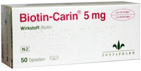 Biotin Carin 5 mg Lactose Glutenfrei 50 Tabletten