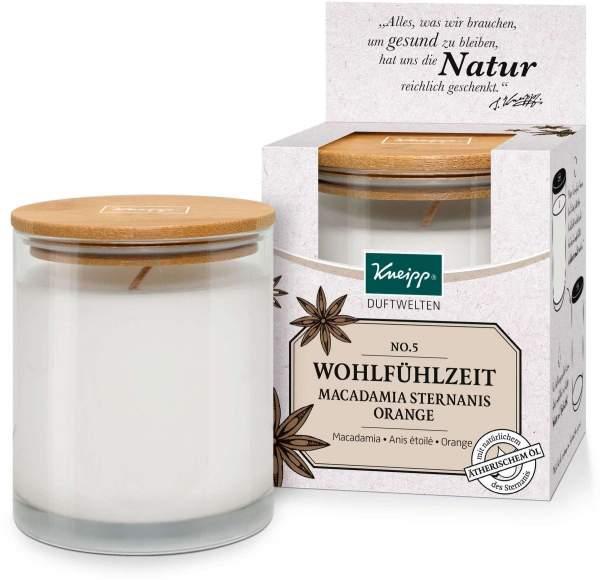 Kneipp Duftwelten Duftkerze No. 5 Wohlfühlzeit - Macadamia, Sternanis & Orange 145 g