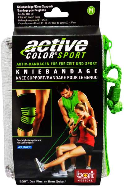 Bort Active Color Sport Kniebandage M Schwarz Grün 1 Stück