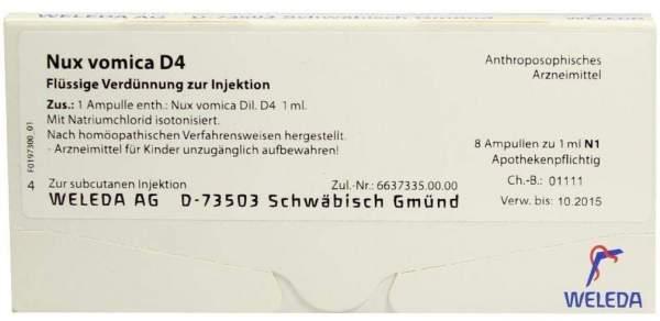 Weleda Nux Vomica D4 8 X 1 ml Ampullen