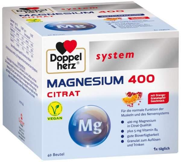 Doppelherz System Magnesium 400 Citrat Granulat 40 Beutel