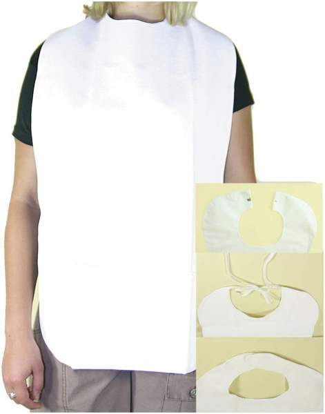 Lätzchen Erwachsene Folie, Frottee Weiß Mit Auffangteil Klettband