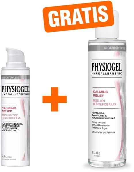 Physiogel Calming Relief 40 ml reichhaltige Gesichtscreme + gratis Calming Relief Mizellen Reinigungsfluid 200 ml
