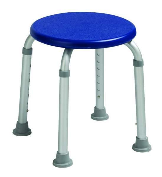 Duschhocker aus Aluminium, blau, höhenverstellbar