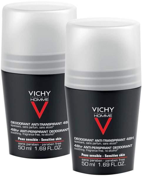 Vichy Homme Deodorant Anti Transpirant 48 h sensible Haut 2 x 50 ml