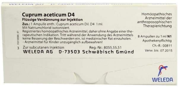 Cuprum aceticum D 4 Weleda 8 x 1 ml Ampullen