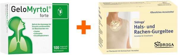 Gelomyrtol forte 100 Kapseln + Sidroga Hals-Rachen-Gurgeltee 20 Filterbeutel