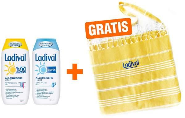 Ladival Sonnenschutz Gel Allergische Haut LSF 30 200 ml Gel + Après Gel 200 ml + gratis 2 in 1 Badetasche - Badetuch