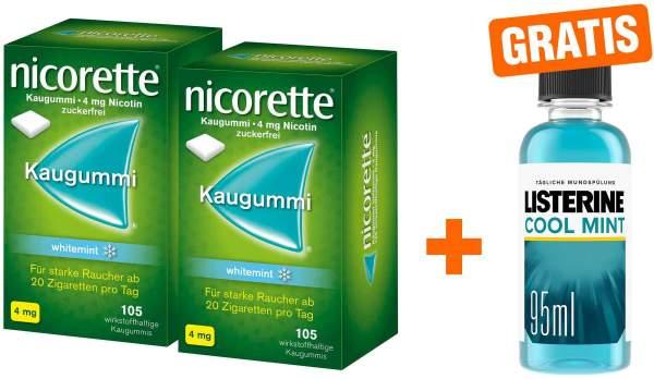 Nicorette Kaugummi 4 mg whitemint 2 x 105 Kaugummis + gratis Listerine Cool Mint 95 ml
