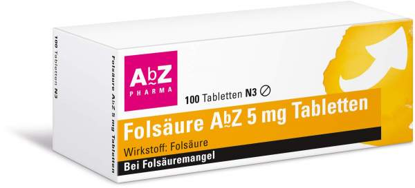 Folsäure AbZ 5 mg 100 Tabletten