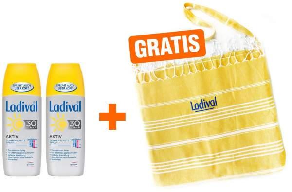 Ladival Aktiv Sonnenschutz Spray LSF 30 2 x 150 ml + gratis 2 in 1 Badetasche - Badetuch