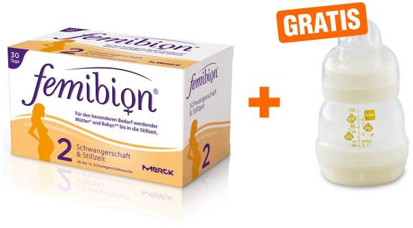 Femibion Schwanger 2 D3+DHA+Folat 400 µg 2 x 30 Kapseln u. Tabletten Kombipackung + gratis MAM Babyf