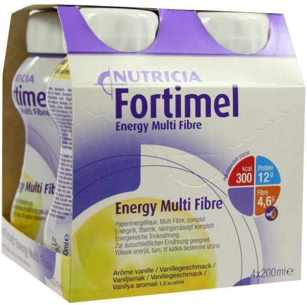 Fortimel Energy Multi Fibre Vanillegeschmack 4 X 200 ml