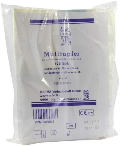 Mulltupfer 20 X 20 cm Pflaumengroß Steril 100 Tupfer