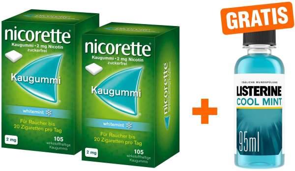 Nicorette Kaugummi 2 mg whitemint 2 x 105 Stück + gratis Listerine Cool Mint 95 ml